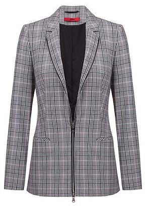 HUGO BOSS Regular-fit checked jacket with two-way front zip