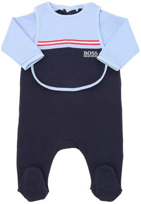 HUGO BOSS Cotton Jersey Romper & Bib
