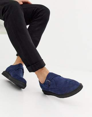 Truffle Collection Pointed Creeper Shoe in Navy