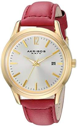 Akribos XXIV Women's Quartz Gold-Tone Case with Gold-Tone Accented Silver Sunray Dial on Glove Style Genuine Leather Strap Watch AK921RD