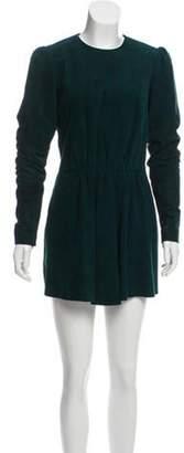 Saint Laurent Suede Long Sleeve Dress Green Suede Long Sleeve Dress