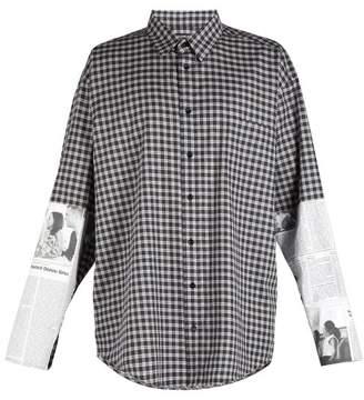 Balenciaga Newspaper Sleeve Patch Shirt - Mens - Grey
