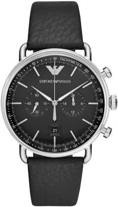 Emporio Armani Mens Chronograph Black Leather Watch