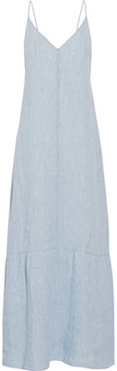 J Brand - Maureen Linen-chambray Maxi Dress - Light denim $270 thestylecure.com