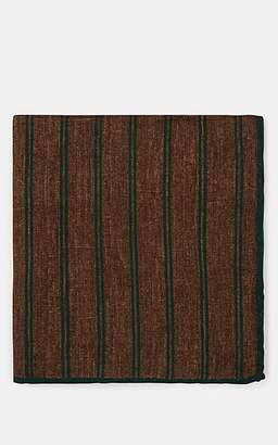Eleventy Men's Reversible Wool-Cotton Pocket Square - Green