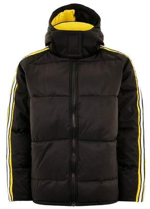 Topman Mens Black Puffer Jacket With Arm Stripe