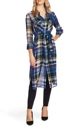 Vince Camuto Plaid Escape Belted Duster