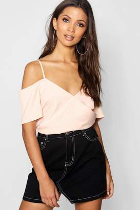 boohoo Wrap Front Cold Shoulder Top