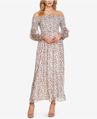 CeCe Smocked Off-The-Shoulder Maxi Dress