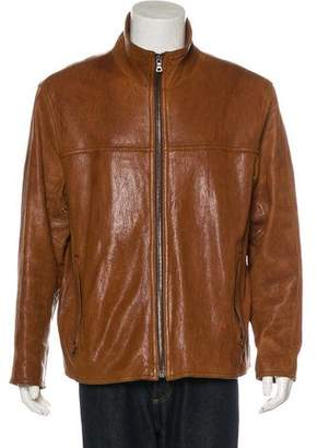 Andrew Marc Leather Collared Jacket