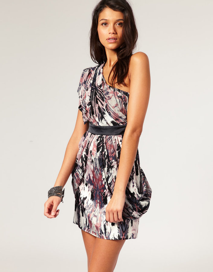 Lipsy Print Frill One Shoulder Abstract Print Dress