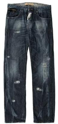 John Galliano Distressed Straight-Leg Jeans
