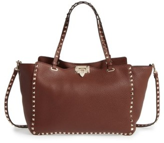 Valentino 'Rockstud' Grained Calfskin Leather Tote - Brown $2,595 thestylecure.com