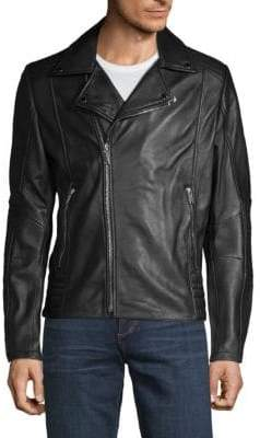 Full-Zip Leather Moto Jacket