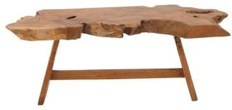 DecMode Decmode 46 Inch Rustic Cross-Sectional Teak Wood Bench