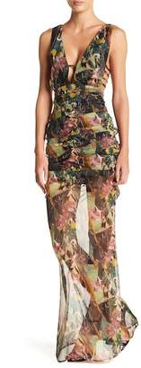 Wow Couture Woven Patterned V-Neck Dress