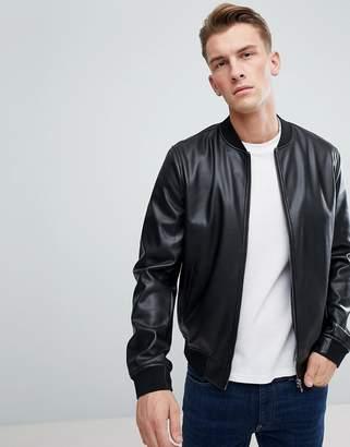 Celio Leather Look Bomber Jacket