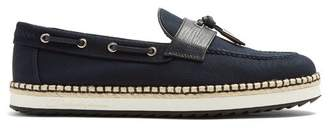 Dolce & Gabbana - Leather Trimmed Canvas Loafers - Mens - Navy Multi