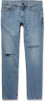 Saint Laurent Skinny-Fit 15cm Hem Distressed Denim Jeans