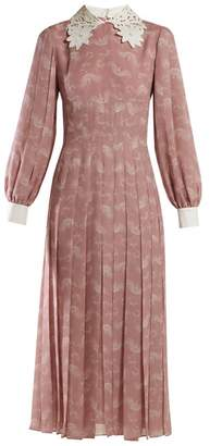Fendi Lace Collar Paisley Print Silk Midi Dress - Womens - Pink Print