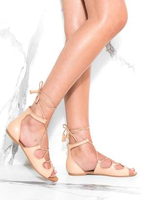 Missy Empire Missyempire Embry Beige Lace Up Sandals