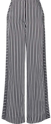 Elizabeth and James - Jones Striped Satin And Crepe Wide-leg Pants - Midnight blue $395 thestylecure.com