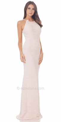 Carmen Marc Valvo Infusion Beaded Halter Prom Dress $425 thestylecure.com