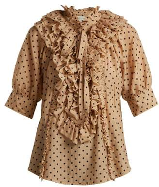 BEIGE Lee Mathews - Ingall Polka Dot Cotton And Silk Blend Blouse - Womens Multi
