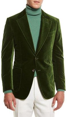TOM FORD Shelton Base Velvet Sport Jacket, Grass Green $3,440 thestylecure.com