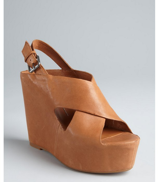 Dolce Vita tan leather buckle ankle strap 'Julie' wedge sandals