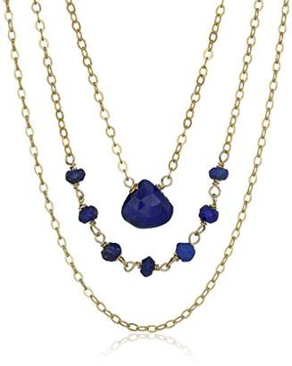 Lapis Gold-Plated Sterling Silver 3 Row Layered Lazuli Chain Necklace
