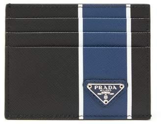 Prada Logo Plaque Striped Saffiano Leather Cardholder - Mens - Black Blue
