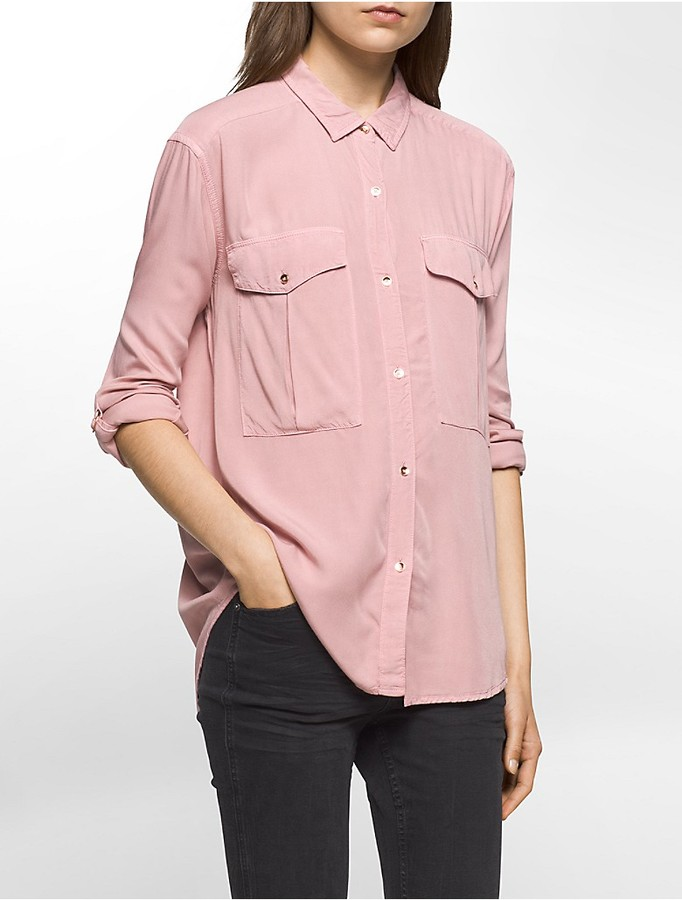 Calvin KleinGarment-Dyed Utility Roll-Up Shirt