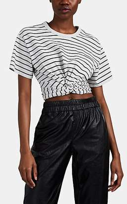 Alexander Wang Women's Striped Jersey Twist-Front T-Shirt - Gray