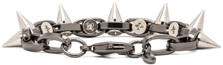 JOOMI LIM Double Row Spike Bracelet in Hematite & Silver