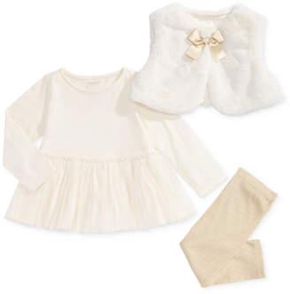 First Impressions Baby Girls 3-Pc. Faux-Fur Vest, Peplum Tunic & Metallic Leggings Set