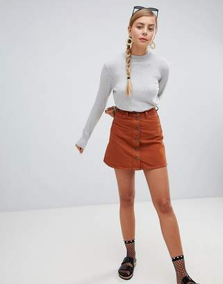 Monki Brown Denim Mini Skirt