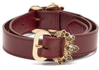 Erdem Crystal Embellished Leather Belt - Womens - Burgundy