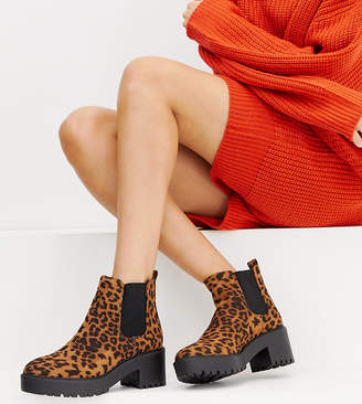 New Look chunky flat boot in leopard