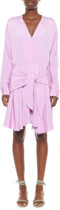 Tibi Silk Draped Faux-Wrap Dress