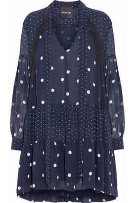 Nicholas Woman Ruffle-trimmed Cutout Open-knit Blouse Blue Size 8 Nicholas Latest gqB8G20y