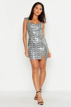 boohoo PU Snake Print Bodycon Dress