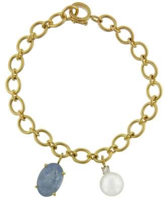 Irene Neuwirth Oval Aqua Charm and Pearl Chain Bracelet