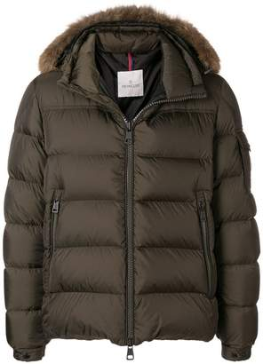 Moncler padded fur trim coat