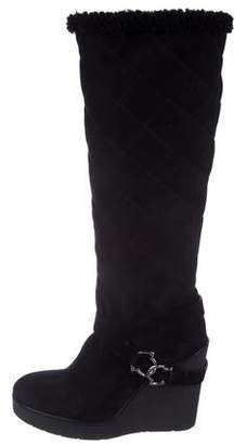 Moncler Suede Semi Pointed-Toe Knee-High Boots