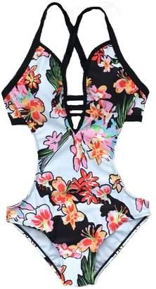4db527780e669 Miis Women's Hater Straps Bikini Fora Print Monokini One Piece Swimsuits (,  Fora)
