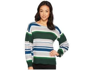 CeCe Jersey Stripe Balloon Sleeve Striped Sweater Women's Sweater