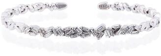 Suzanne Kalan 18K White Gold and diamond Fireworks ZigZag Baguette Bangle
