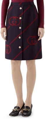 Gucci Interlocking-G Print Reversible Wool & Silk Skirt
