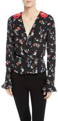Tanya Taylor Clio Floral Long-Sleeve Silk V-Neck Top